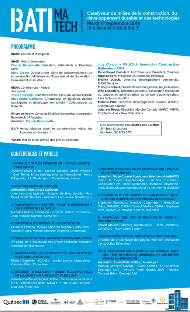 Le programme officiel Batimatech 2019