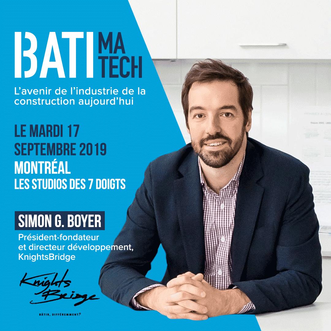Conférencier Batimatech Simon G.Boyer