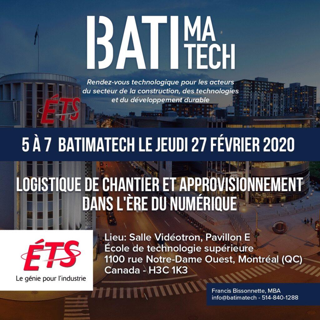 5 a 7 Batimatech ETS génie pour l'industrie - 27 février 2020